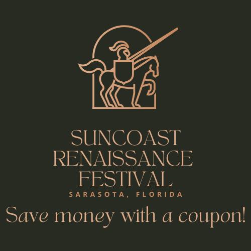 Promo code, coupon for Suncoast Renaissance Festival at Sarasota Fairgrounds