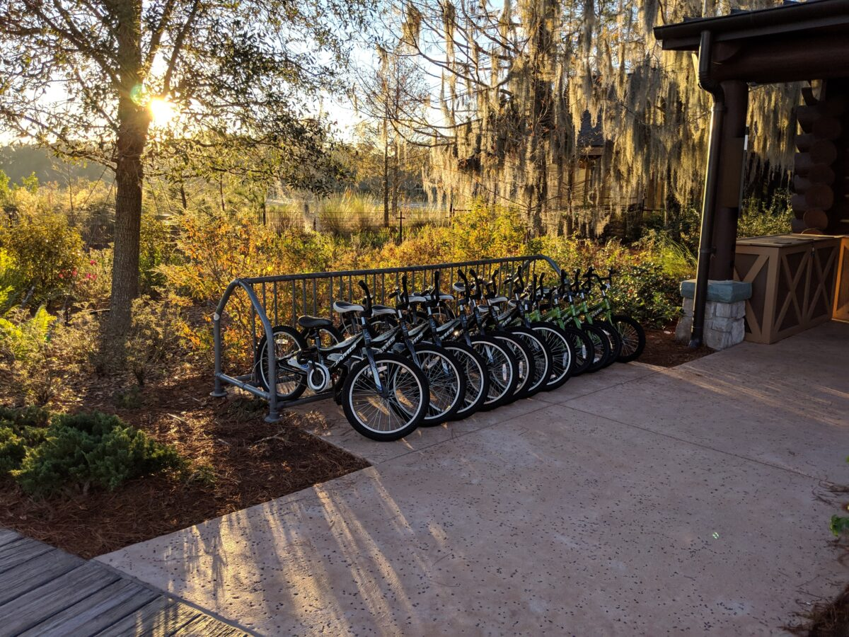Bike rental is one of the amenities offered by Wilderness Lodge at the Walt Disney World Resort in Orlando