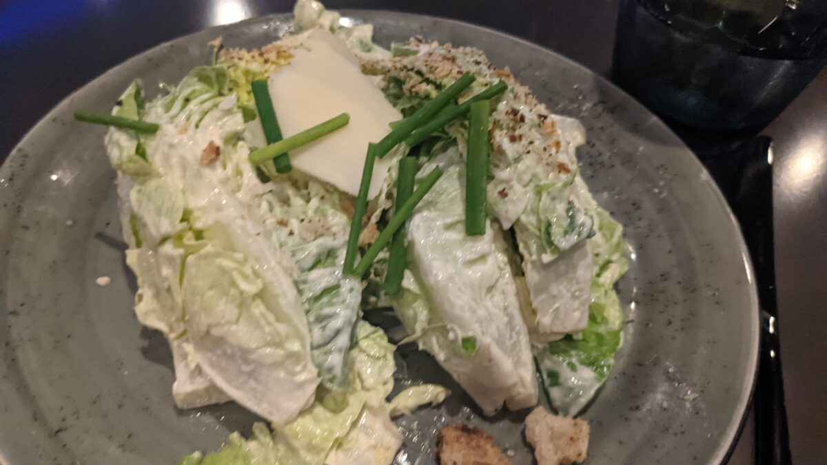 """One of the """"lift-off"""" parts of the 3 course meal at Disney World's newest restaurant, Space 220, is this the Centauri Caesar Salad"""