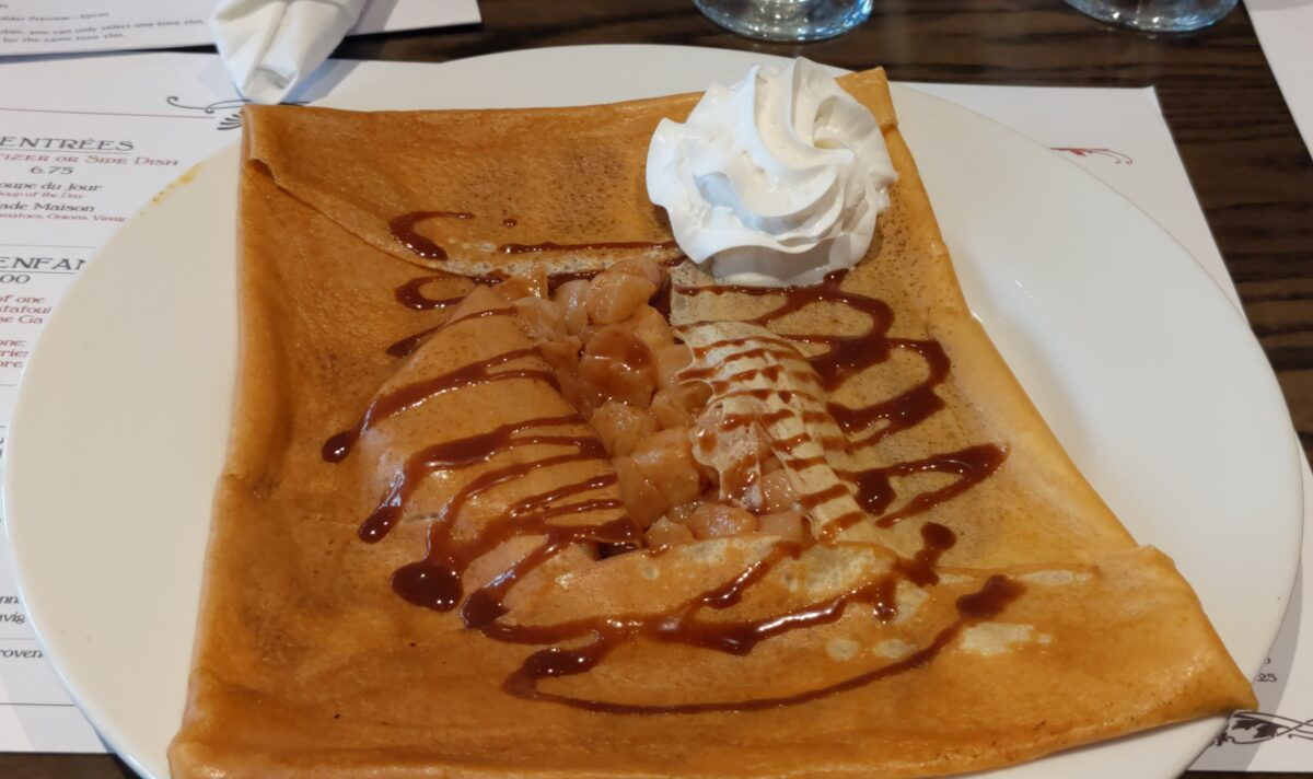 Poire Crepe with Pear, Chocolate Ganache and Whipped Cream at La Crêperie de Paris in EPCOT