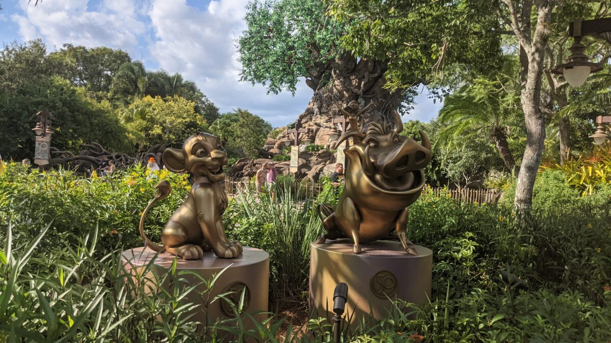 Part of the Disney World 50th Anniversary Celebration in Orlando Florida is new decorations like these Lion King gold statues