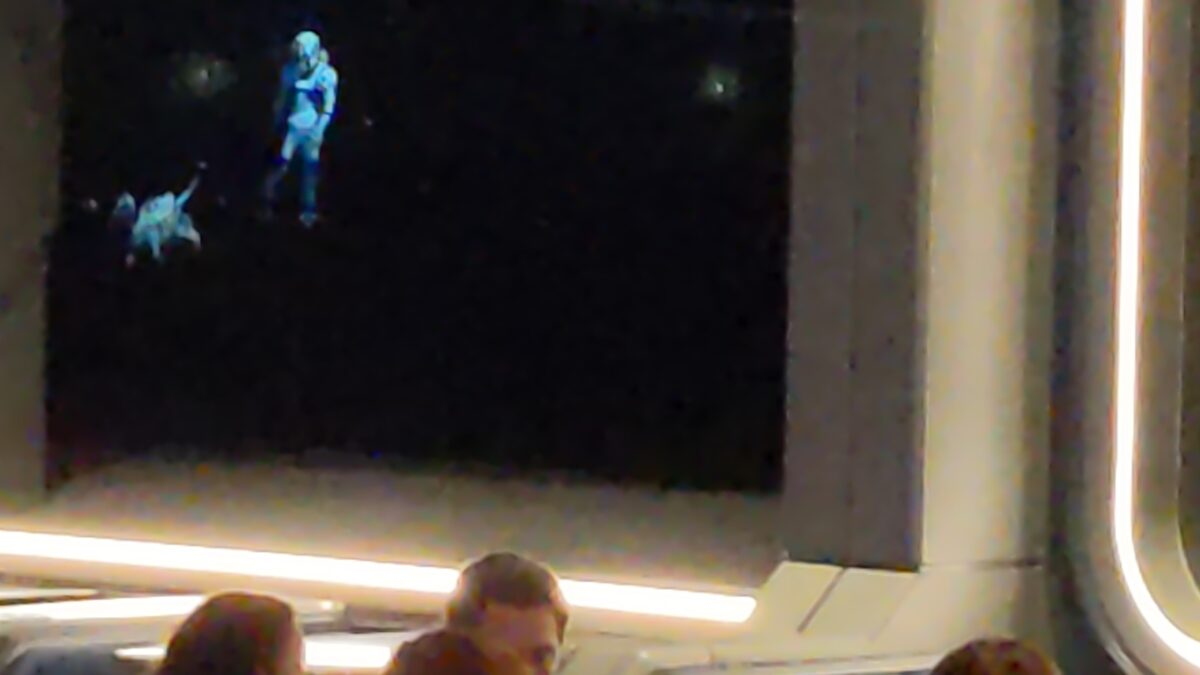 """A cute dog is one of the many fun things projected ono the """"windows"""" at Space 220 in Orlando, Florida"""
