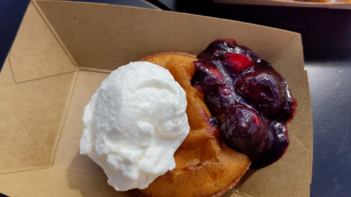 I loved the Belgian waffle with strawberries & cherries at the Belgium booth at Epcot's Food & Wine Festival at Disney World