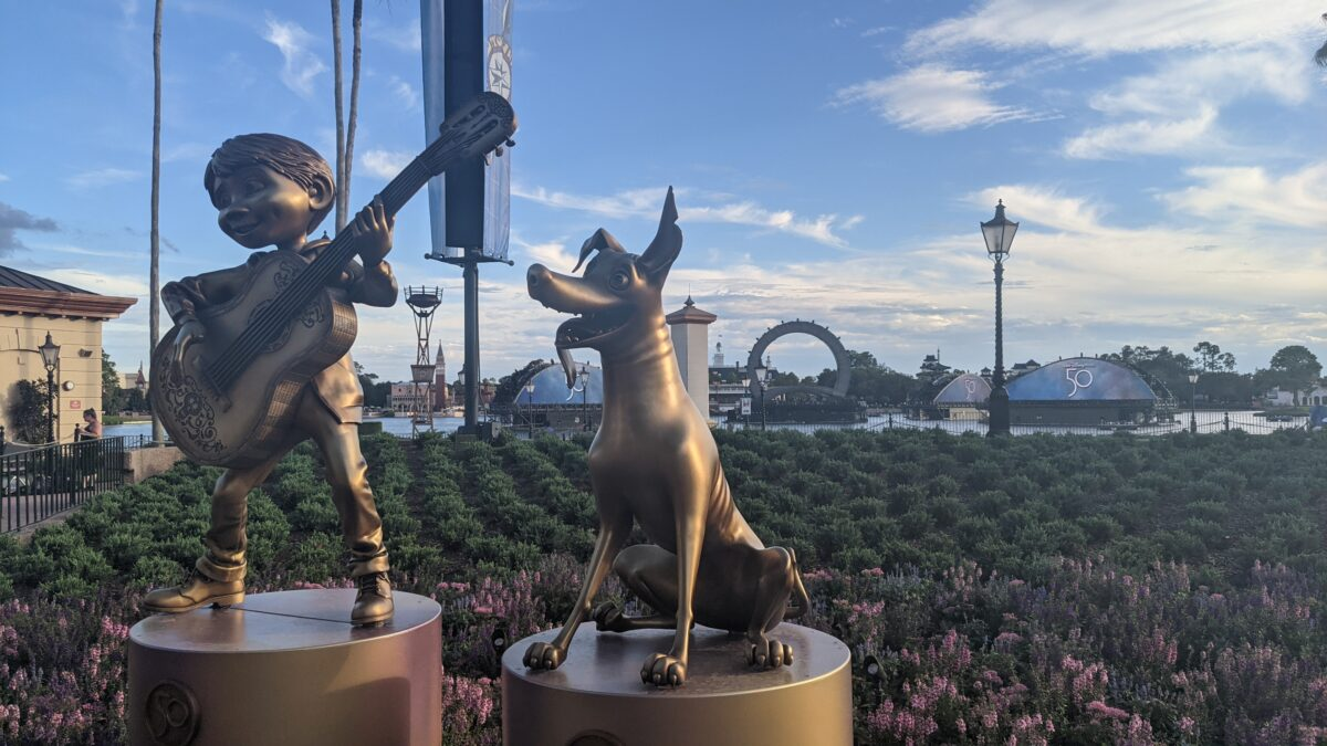 See Coco & other popular Disney & Pixar characters in gold statues at the Walt Disney World Resort in Orlando, FL at their 50th Anniversary Event