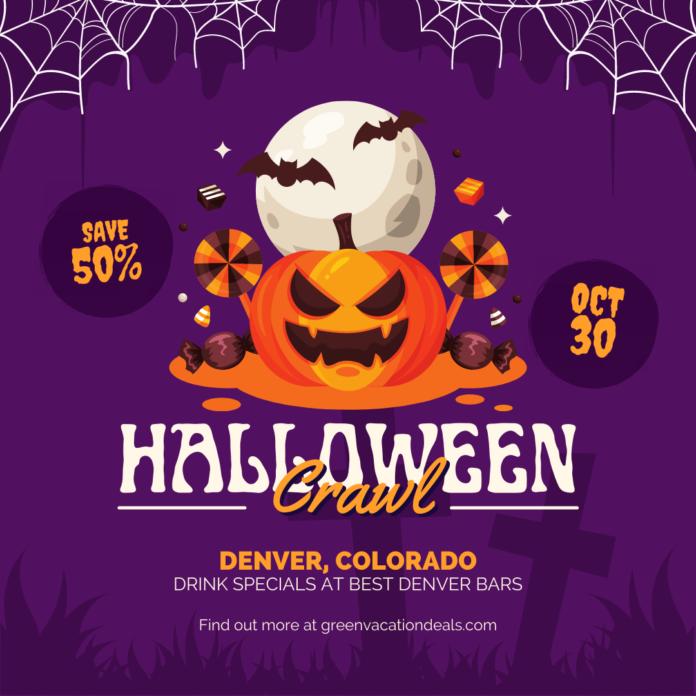 50% off Halloween bar crawl in Denver, Colorado get drink & food specials at top bars