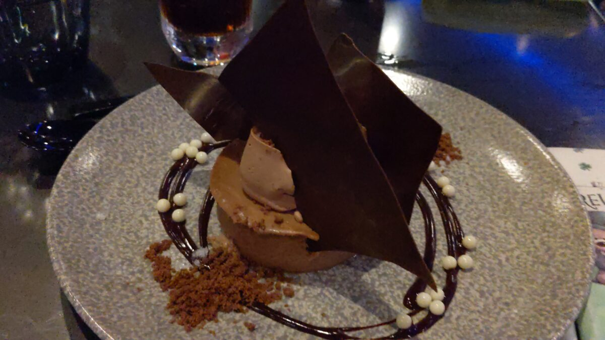 My family loves the desserts you can have at dinner at Space 220 restaurant at Epcot near Mission: Space like this chocolate cheesecake