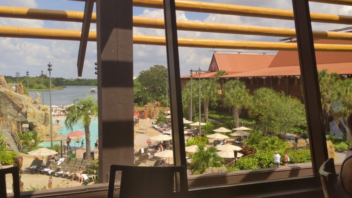 Depending on where you are seated, your table can have great Magic Kingdom & Disney hotel views at the Polynesain Resort's Ohana restaurant