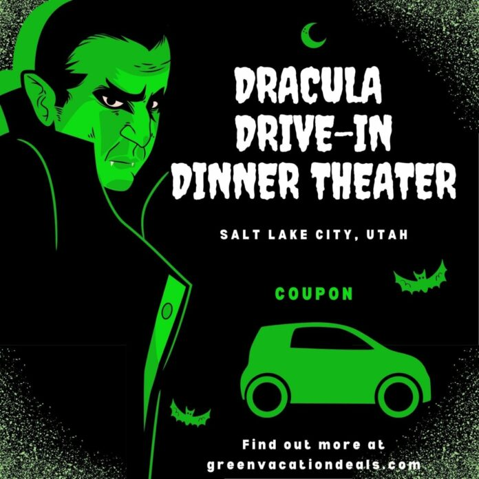Discount admission to DRACULA Drive-in Dinner Theater Halloween event in Provo, Layton, Murray, Salt Lake City area