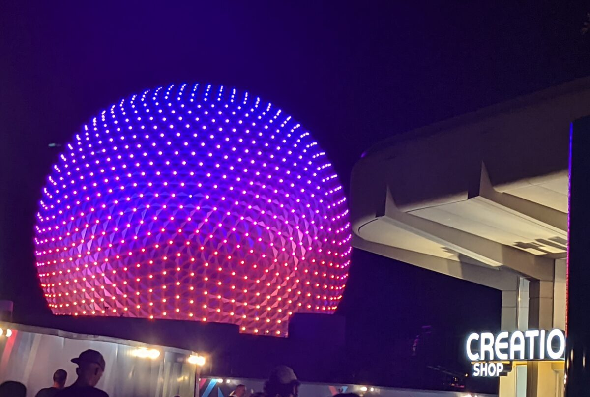 Projections on Spaceship in Epcot and the side of the Creations Gift Shop at Disney World