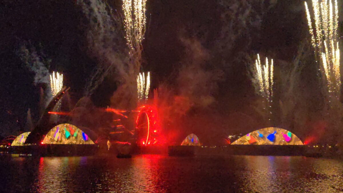 Harmonious is the newest fireworks show at Walt Disney World. It features music & projections of popular movies like Beauty & The Beast, Mulan, Brave, Hunchback of Notre Dame, Coco & others