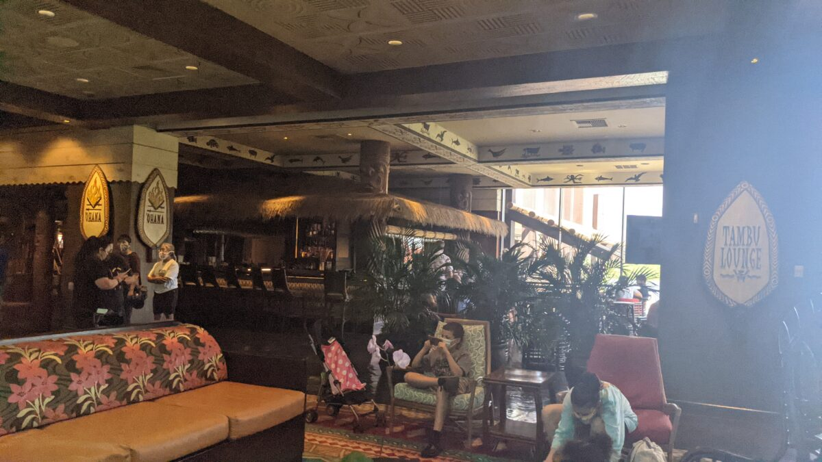 Wait for your Ohana character breakfast buffet while sitting outside the Tambu Lounge at Disney's Polynesian Resort in Orlando