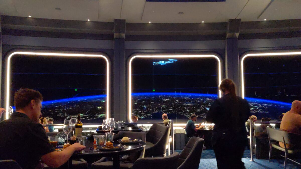 A picture of the great view at Space 220 restaurant, Walt Disney World's newest restaurant