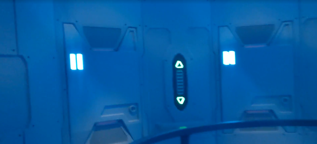 The elevator at Space 220 restaurant makes you feel like you've gone into space & cast members add to the mood