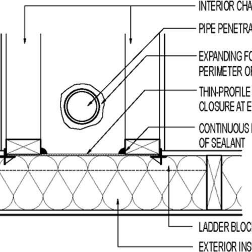 air seal at chase walls      plan