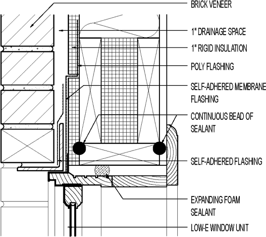 flanged window at head  exterior foam sheathing  brick