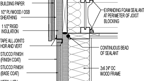 Wall Section Vertical Board Siding Above Stucco