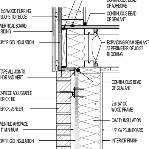 Wall Section Vertical Board Siding Above Brick