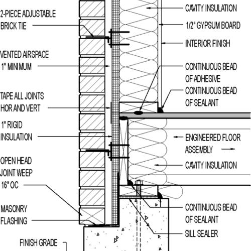 Wall Section Brick Veneer 1 Quot Rigid Insulation