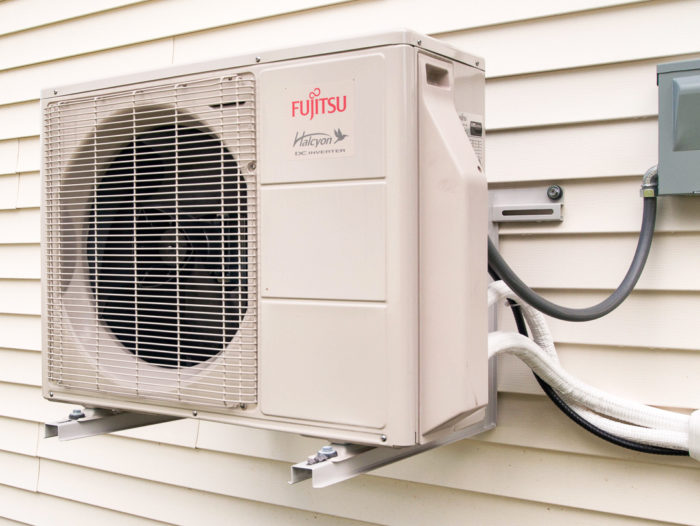 ductless minisplit heat pumps are relatively simple, consisting of an  outdoor compressor/condenser (pictured) and one or more indoor evaporators