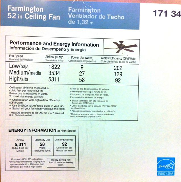 How to buy an energy efficient ceiling fan greenbuildingadvisor energy star ceiling fan gives more data about its efficacy notice that the table shows the efficacy for high medium and low speeds not just high aloadofball Images