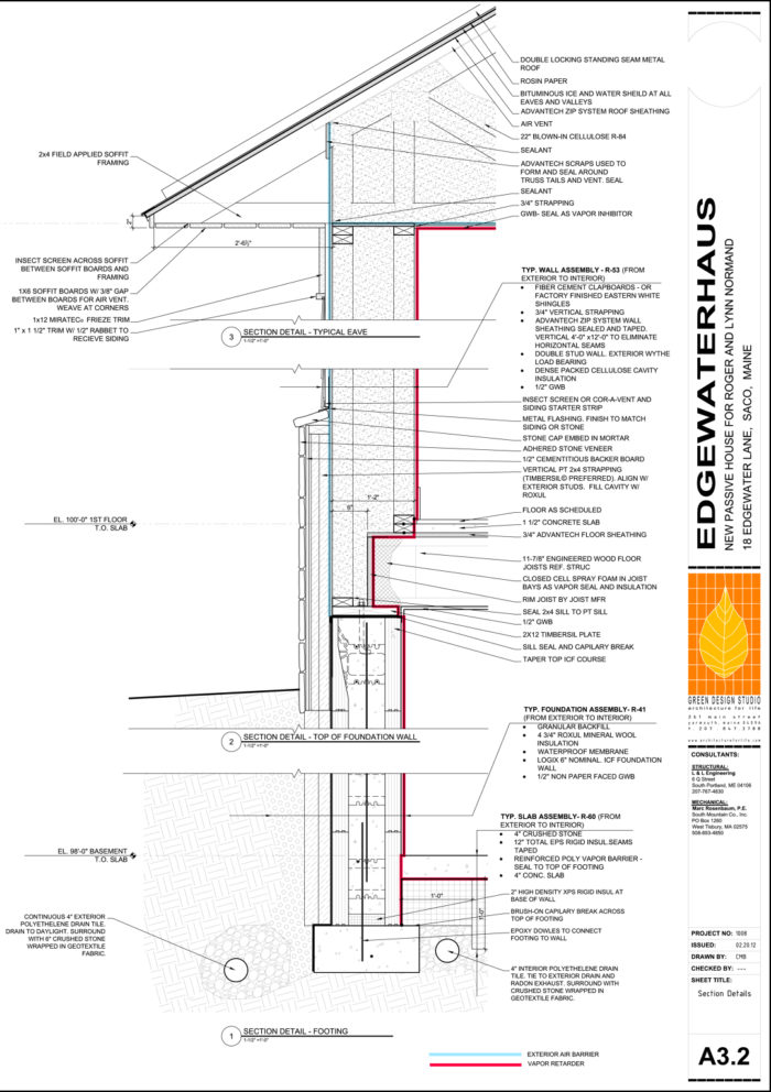 Designing Superinsulated Walls Greenbuildingadvisor. An R40 Basement Wall And R53 Abovegrade Winters Are Cold In Maine So It's Hard To Achieve The Passivhaus Standard There Without Highr Walls. Wiring. House Framing Diagram Fill In At Scoala.co