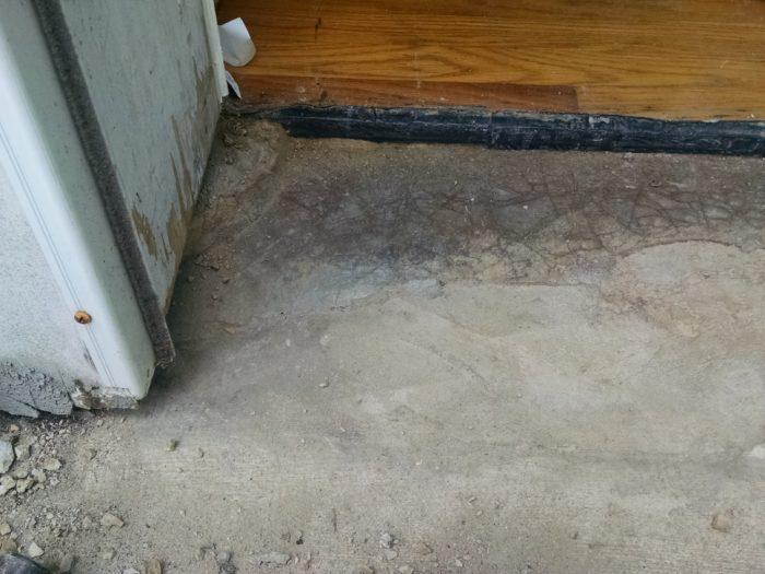replace exterior door threshold concrete