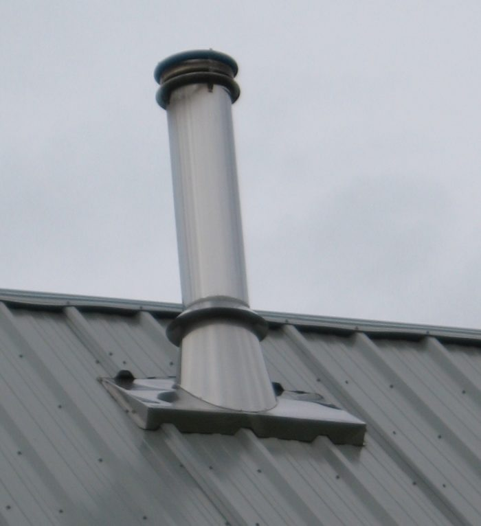 Flue penetration for metal roof rather good