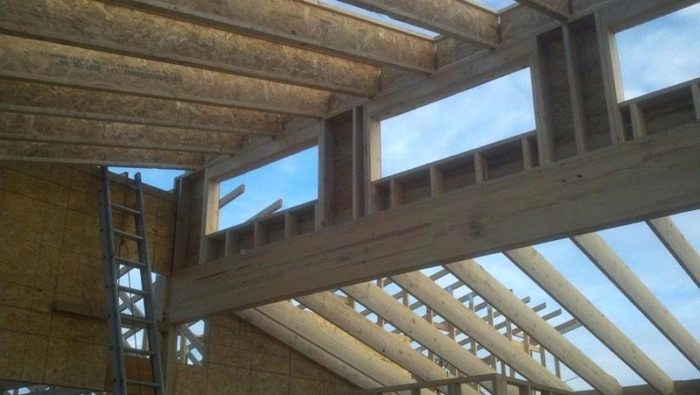 Ridge Beam Placement In A Clerestory Roof
