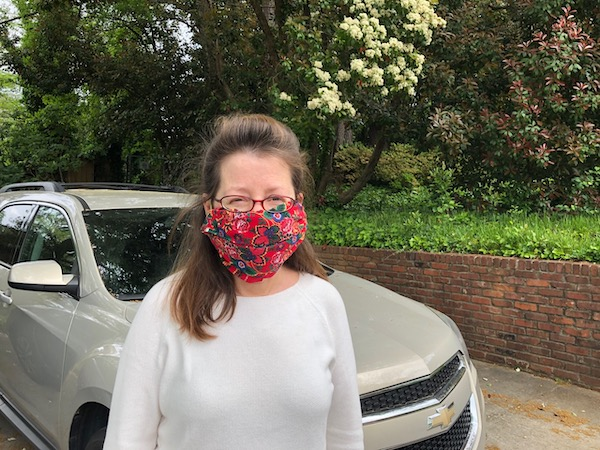 A homemade coronavirus mask, made from a folded bandana and a couple of hair bands [Image by Energy Vanguard]