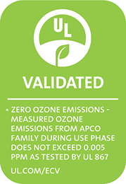 UL validated ozone free label for APCO-X UV lamps by Fresh Aire UV