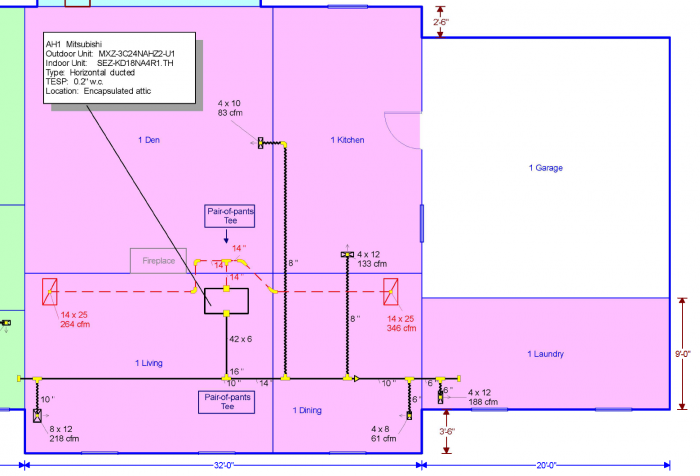 The common area zone with an 18 kBTU/hr ducted mini-split air handler