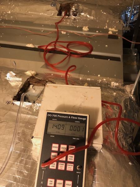 Total external static pressure measurement for the 18k ducted mini-split air handler