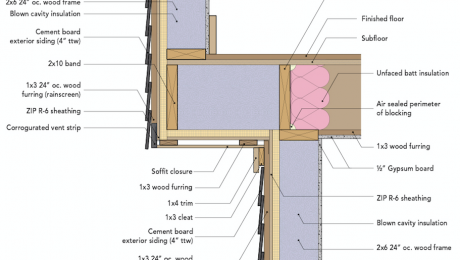 Cantilevered floor section drawing