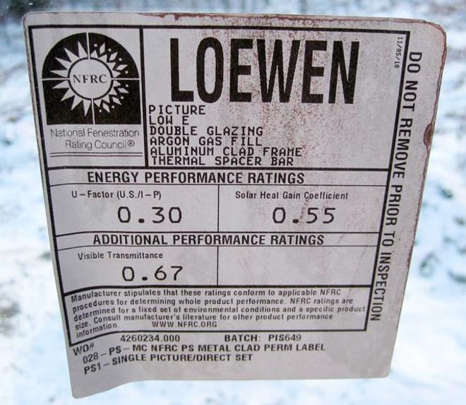 An NFRC label