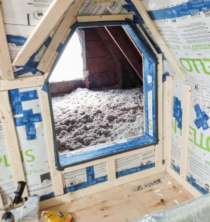 Photo showing cellulose insulation in attic
