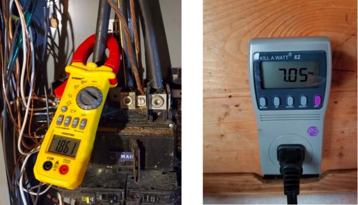 Clamp-on ammeter and Kill a Watt