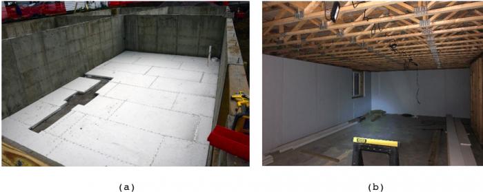 (a) EPS sub-slab insulation, (b) polyisocyanurate interior foundation wall insulation