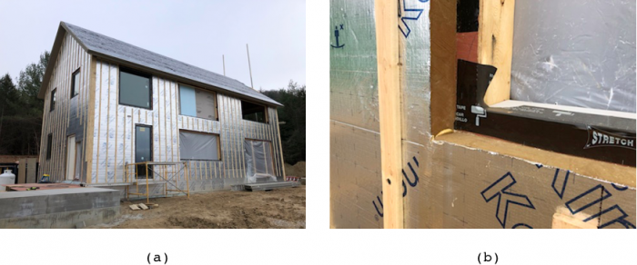 (a) exterior insulation with strapping, (b) phenolic foam detail at window opening