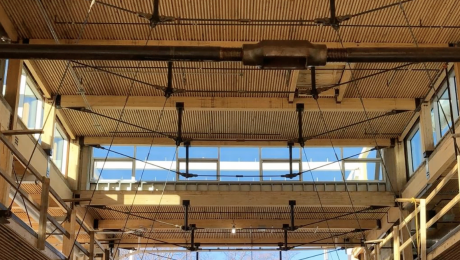 The nail-laminated timber and steel support floor/ceiling assembly inside The Kendeda Building at Georgia Tech