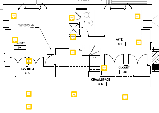 Diagram showing the location of data loggers in attic insulation