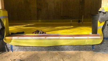Vapor retarder membrane in crawlspace