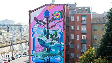 Mid-rise building with painted mural