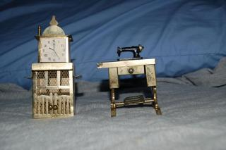 sewing machine and clock/fire place