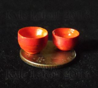 Red-Orange Pair of Decorative Paper Bowls