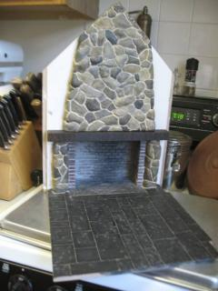 Fireplace with stone chimney