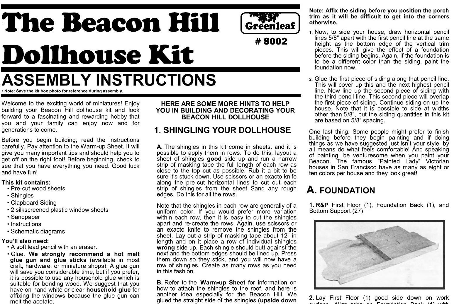 The Beacon Hill Dollhouse Instructions