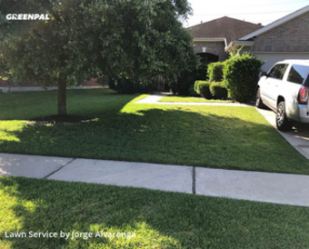 Lawn Cuttingin Cypress,77433,Lawn Mowing by Blue Lagoon Landscap, work completed in Jul , 2020