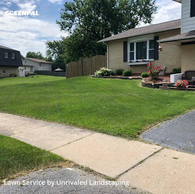Lawn Cutin Tinley Park,60477,Lawn Mowing by Unrivaled Landscaping, work completed in Aug , 2020