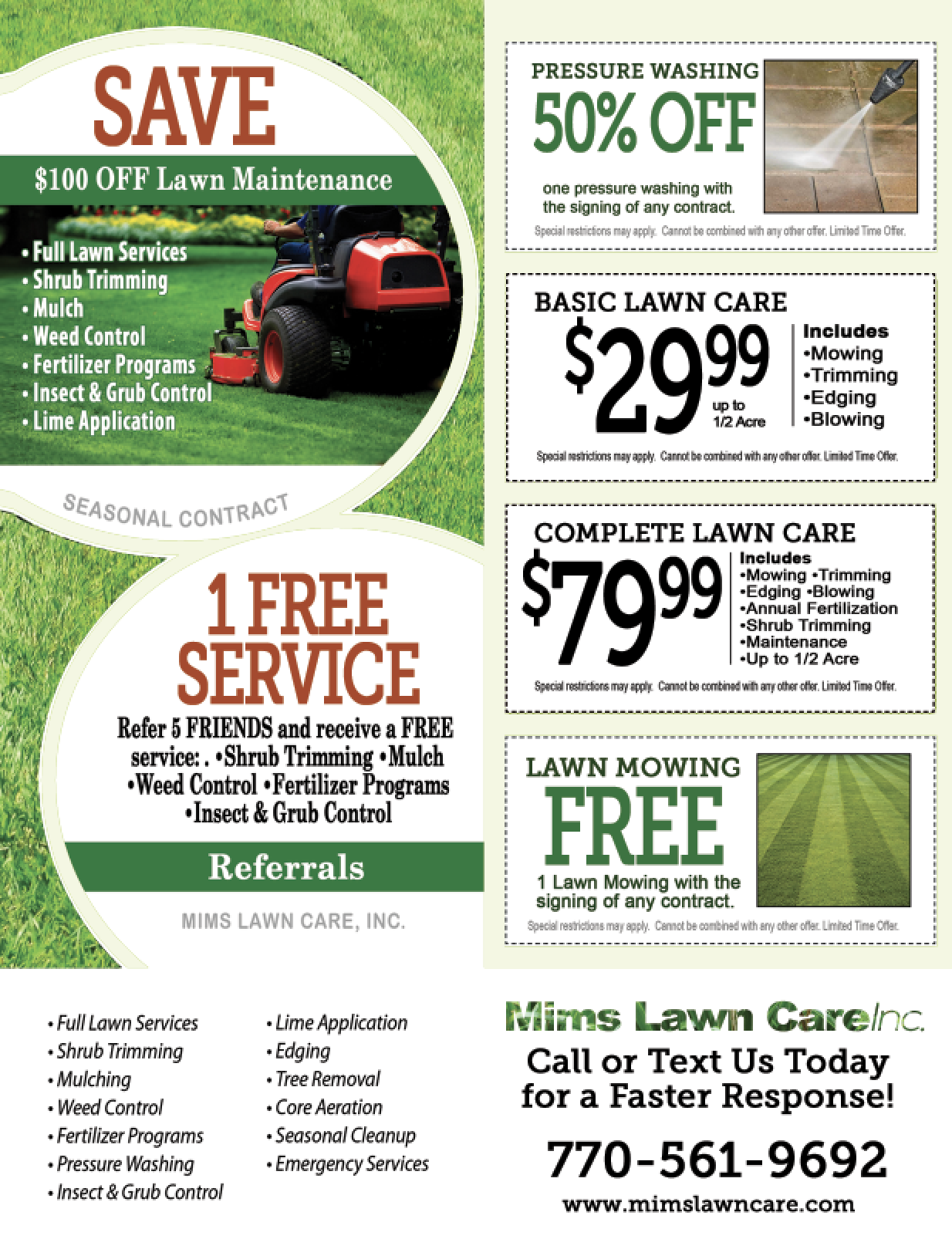 lawn care advertising flyers lawn care marketing postcard 2 the ...
