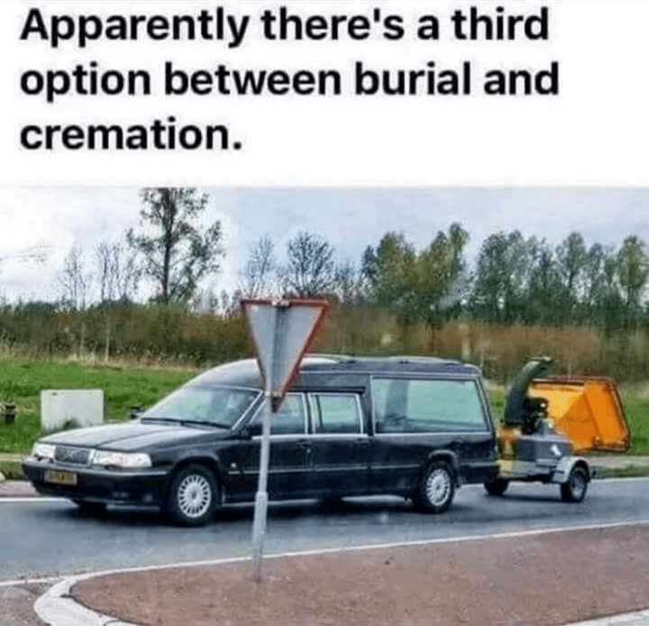 Lawn Care Meme  Simply put, this is a great idea! I am changing my will today. Apparently wood chipper is the cheapest burial method now available.